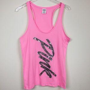 Victoria's Secret Pink | Sequin Logo Tank Top Sz L